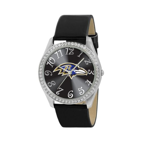 Game Time Glitz Baltimore Ravens Silver Tone Crystal Watch - NFL-GLI-BAL - Women