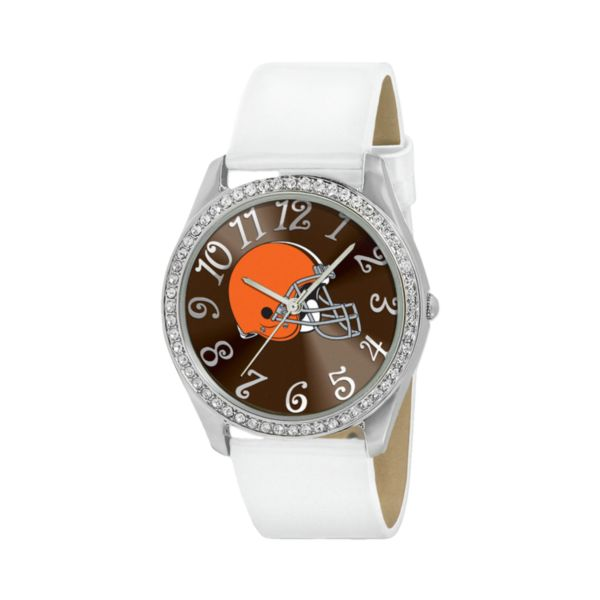 Game Time Glitz Cleveland Browns Silver Tone Crystal Watch - NFL-GLI-CLE - Women