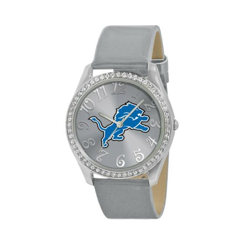 Game Time Glitz Detroit Lions Silver Tone Crystal Watch - NFL-GLI-DET - Women
