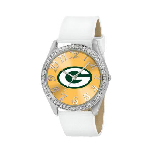 Game Time Glitz Green Bay Packers Silver Tone Crystal Watch - NFL-GLI-GB - Women