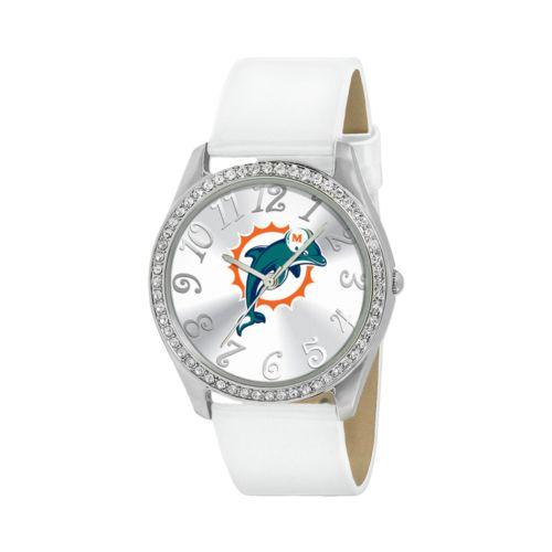 Game Time Glitz Miami Dolphins Silver Tone Crystal Watch - NFL-GLI-MIA - Women
