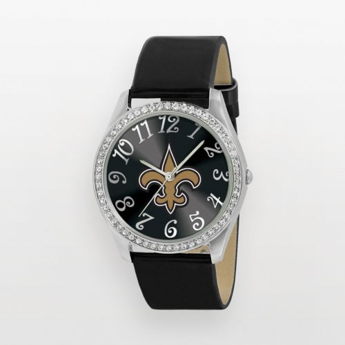 Game Time Glitz New Orleans Saints Silver Tone Crystal Watch - NFL-GLI-NO - Women