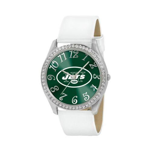 Game Time Glitz New York Jets Silver Tone Crystal Watch - NFL-GLI-NYJ - Women