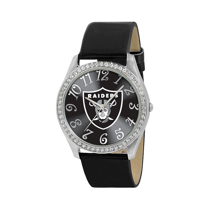Game Time Glitz Oakland Raiders Silver Tone Crystal Watch - NFL-GLI-OAK - Women