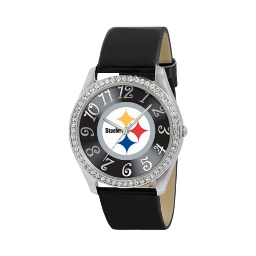 Game Time Glitz Pittsburgh Steelers Silver Tone Crystal Watch - NFL-GLI-PIT - Women