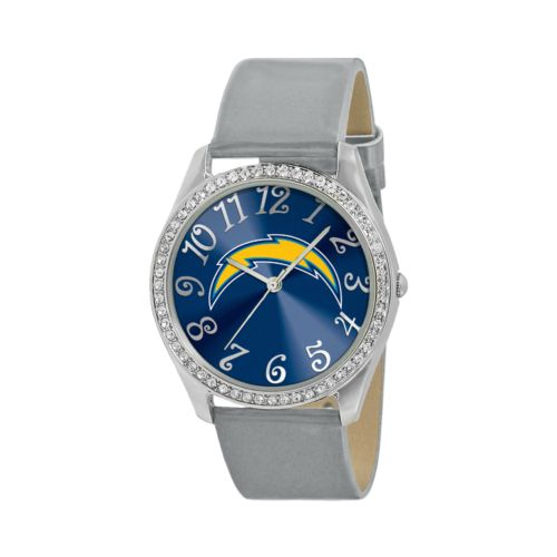 Game Time Glitz San Diego Chargers Silver Tone Crystal Watch - NFL-GLI-SD - Women