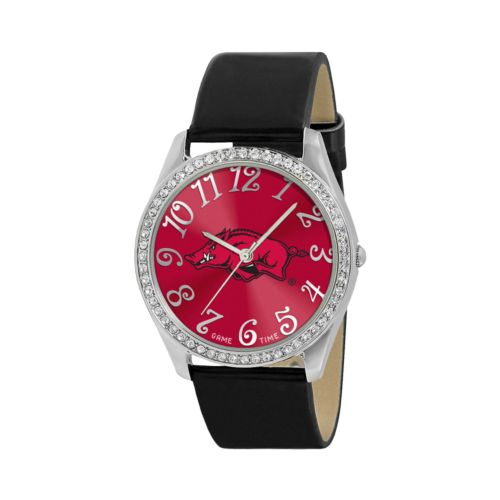 Game Time Glitz Arkansas Razorbacks Silver Tone Crystal Watch - COL-GLI-ARK - Women