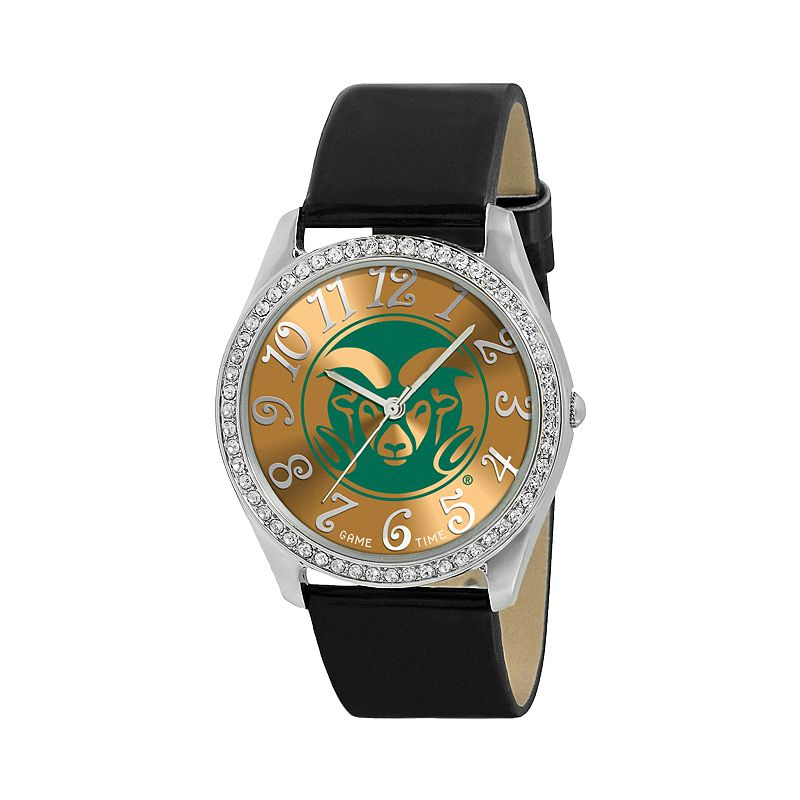 Game Time Glitz Colorado State Rams Silver Tone Crystal Watch - COL-GLI-CSU - Women