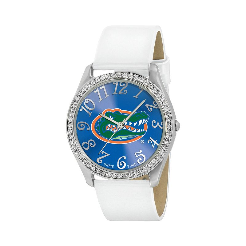 Game Time Glitz Florida Gators Silver Tone Crystal Watch - COL-GLI-FLA - Women