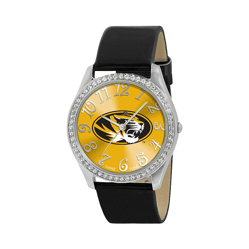 Game Time Glitz Missouri Tigers Silver Tone Crystal Watch - COL-GLI-MO - Women