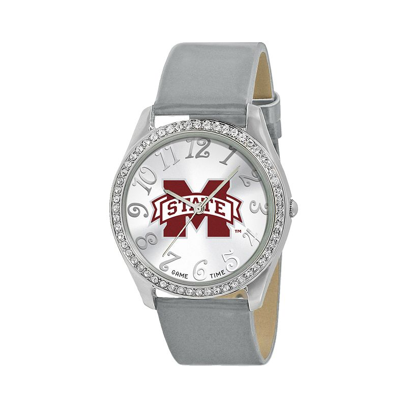 Game Time Glitz Mississippi State Bulldogs Silver Tone Crystal Watch - COL-GLI-MSS - Women