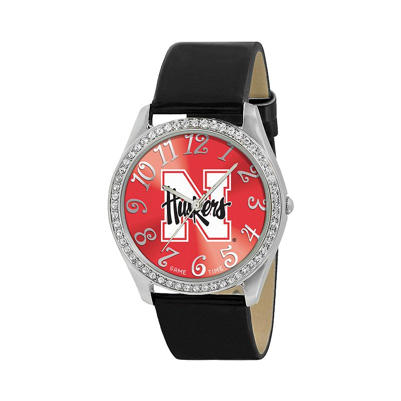 Game Time Glitz Nebraska Cornhuskers Silver Tone Crystal Watch - COL-GLI-NEB - Women