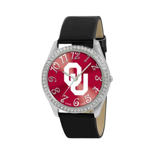 Game Time Glitz Oklahoma Sooners Silver Tone Crystal Watch - COL-GLI-OK - Women