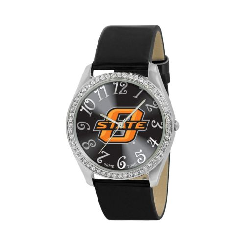 Game Time Glitz Oklahoma State Cowboys Silver Tone Crystal Watch - COL-GLI-OKS - Women