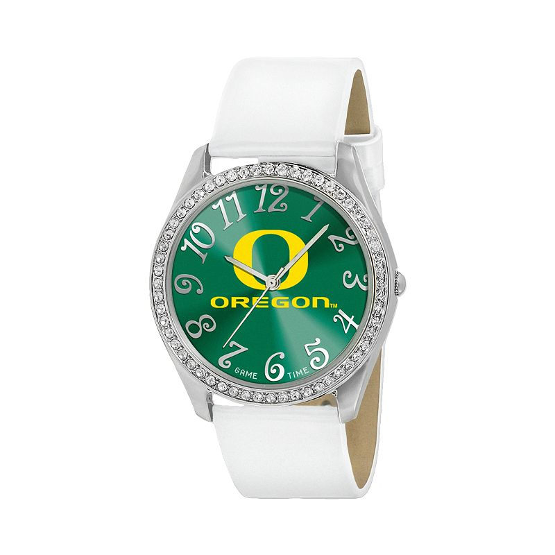 Game Time Glitz Oregon Ducks Silver Tone Crystal Watch - COL-GLI-ORE - Women