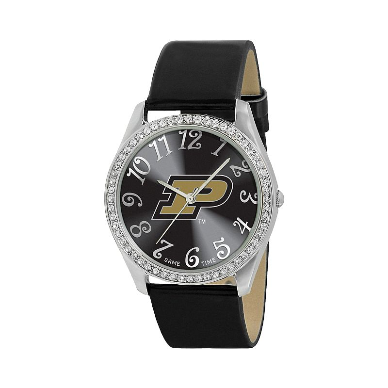 Game Time Glitz Purdue Boilermakers Silver Tone Crystal Watch - COL-GLI-PUR - Women