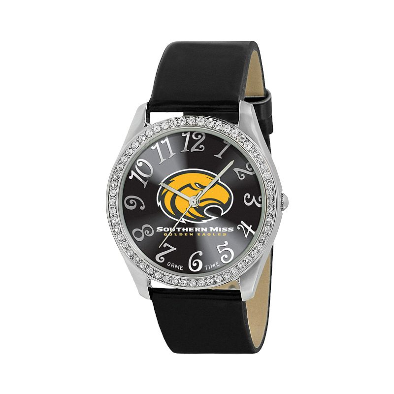 Game Time Glitz Southern Miss Golden Eagles Silver Tone Crystal Watch - COL-GLI-SMS - Women
