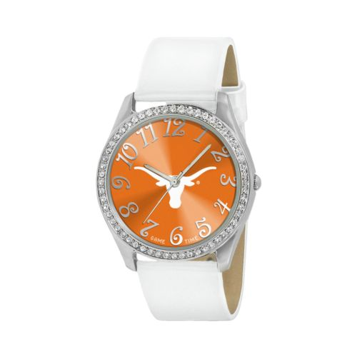 Game Time Glitz Texas Longhorns Silver Tone Crystal Watch - COL-GLI-TEX - Women