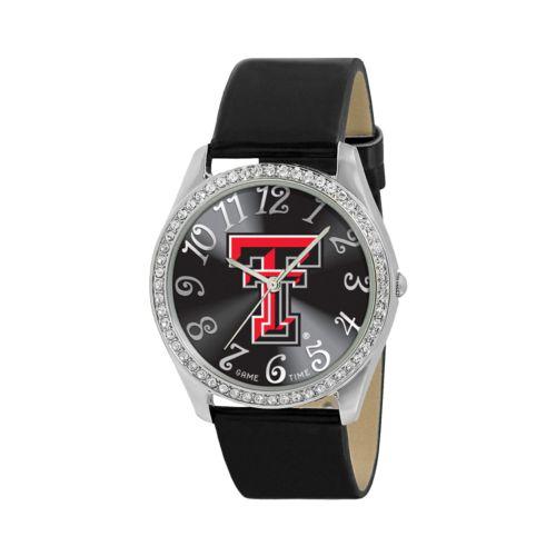 Game Time Glitz Texas Tech Red Raiders Silver Tone Crystal Watch - COL-GLI-TXT - Women