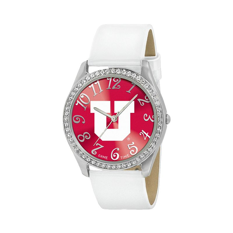 Game Time Glitz Utah Utes Silver Tone Crystal Watch - COL-GLI-UTA - Women