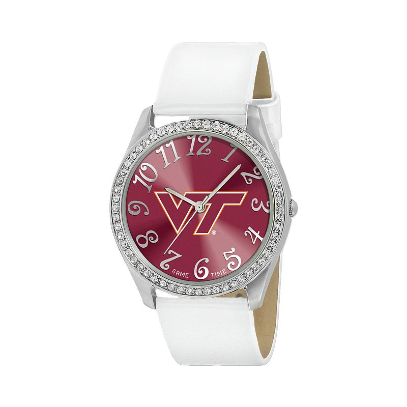 Game Time Glitz Virginia Tech Hokies Silver Tone Crystal Watch - COL-GLI-VAT - Women