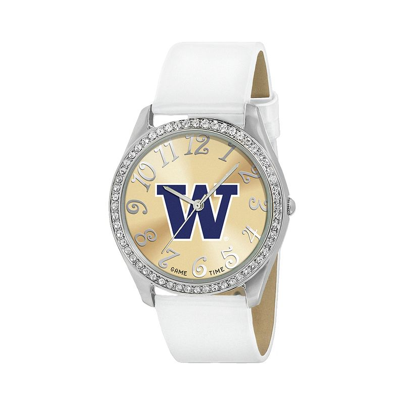 Game Time Glitz Washington Huskies Silver Tone Crystal Watch - COL-GLI-WAS - Women