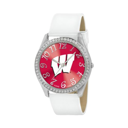 Game Time Glitz Wisconsin Badgers Silver Tone Crystal Watch - COL-GLI-WIS - Women