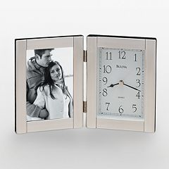 Bulova Forte II Brushed Aluminum Picture Frame Table Clock B1275