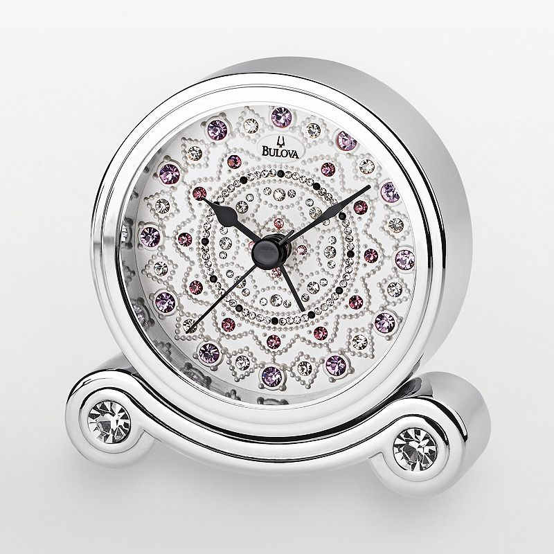 Bulova Olympia Chrome Crystal Alarm Clock - B6886