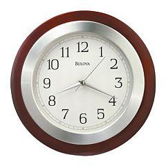 Bulova Reedham Wood & Aluminum Wall Clock C4228