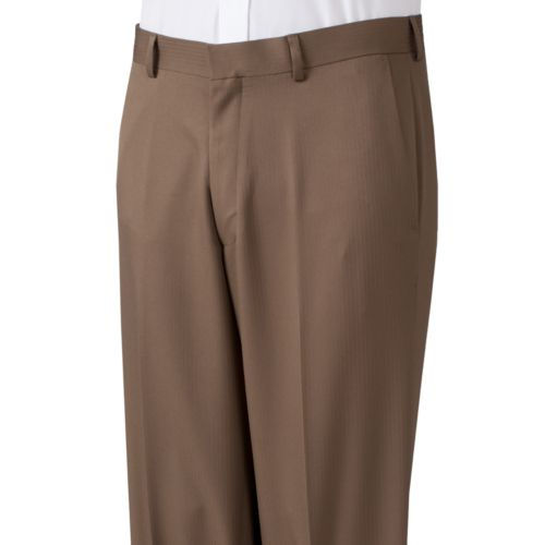 Haggar® Straight-Fit No-Iron Texture-Striped Flat-Front Dress Pants