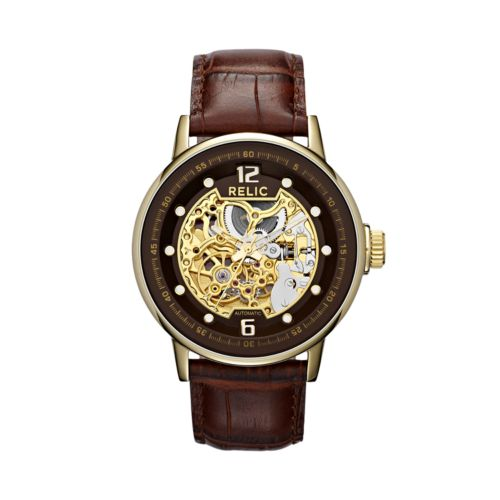 Relic Gold Tone Stainless Steel Automatic Leather Skeleton Watch - ZR77241 - Men
