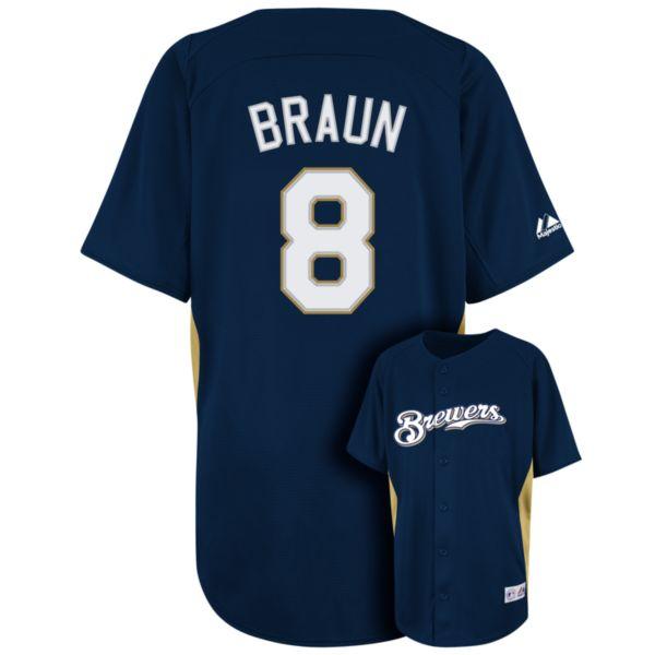 Boys 8-20 Majestic Milwaukee Brewers Ryan Braun MLB Jersey