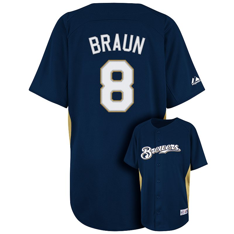 Boys 8-20 Majestic Milwaukee Brewers Ryan Braun MLB Jersey