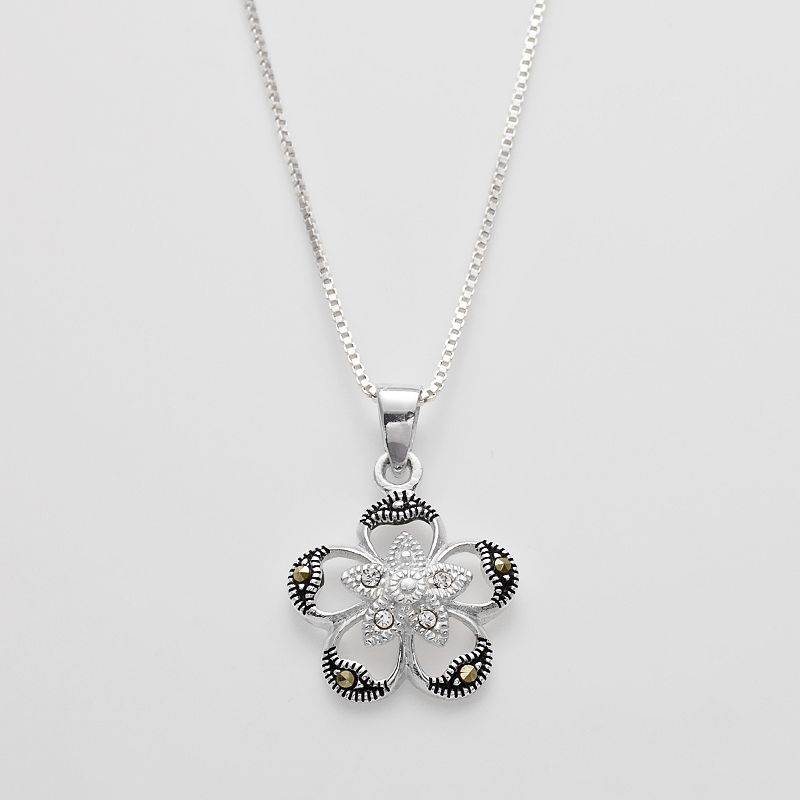 Silver Plated Marcasite and Crystal Flower Pendant