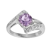 Sterling Silver Amethyst & Diamond Accent Bypass Ring