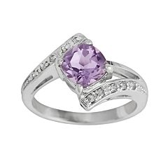 Sterling Silver Amethyst & Diamond Accent Bypass Ring by
