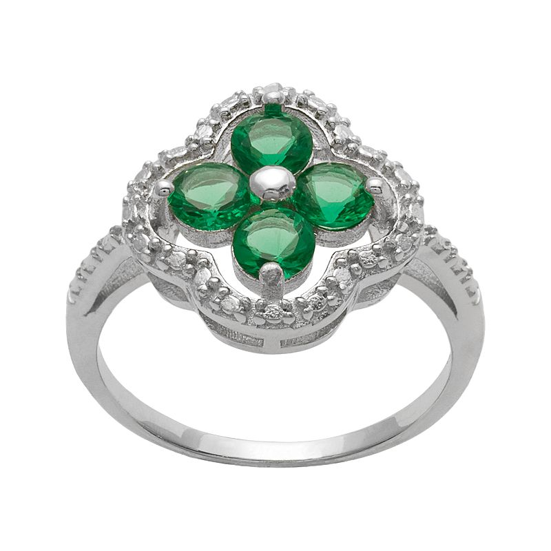 Sterling Silver Diamond Accent and Simulated Emerald 4-Leaf Clover Ring