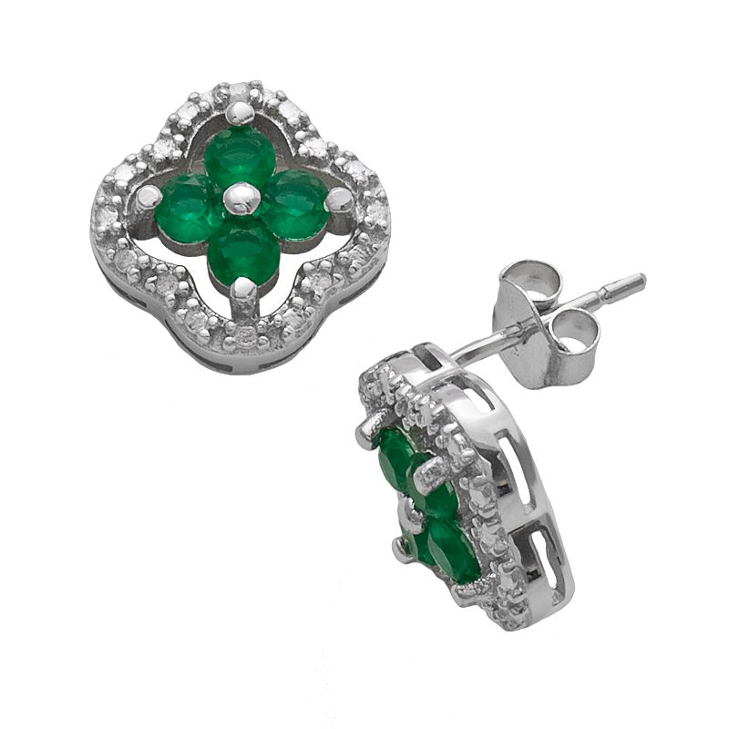 Sterling Silver Diamond Accent and Simulated Emerald 4-Leaf Clover Stud Earrings