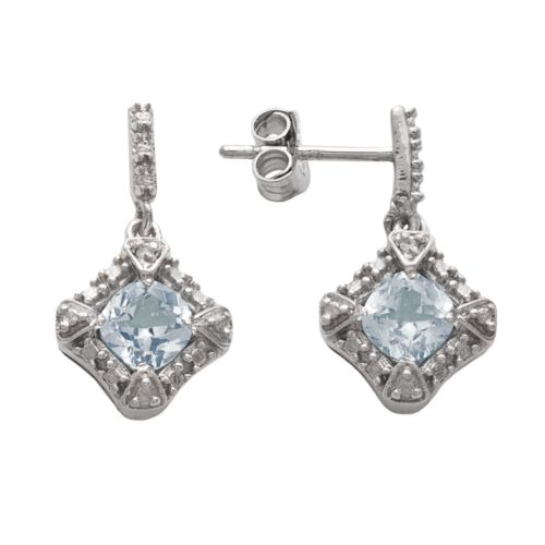 Sterling Silver Simulated Aquamarine and Diamond Accent Drop Earrings