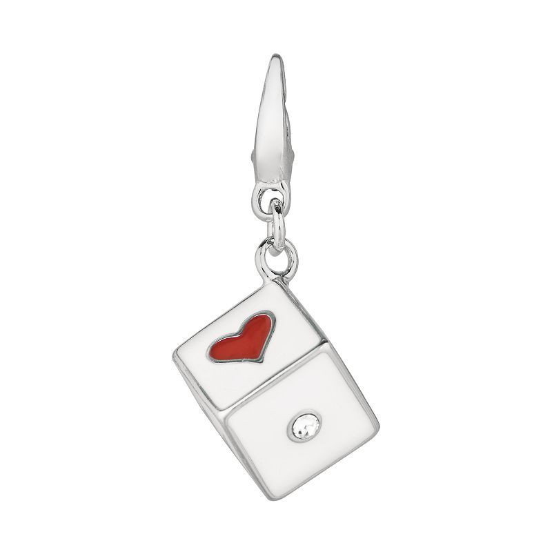 Sterling Silver Crystal Heart Dice Charm