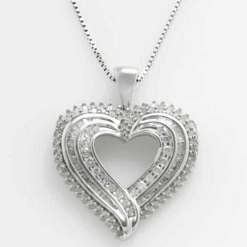 Sterling Silver 1-ct. T.W. Diamond Heart Pendant