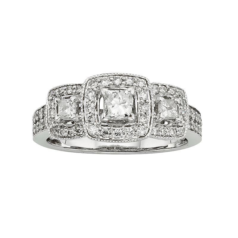 14k White Gold 1-ct. T.W. IGL Certified Princess-Cut Diamond Ring