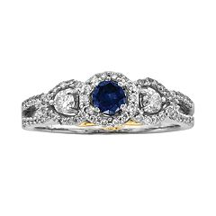 Round-Cut IGL Certified Blue & White Diamond Frame Engagement Ring in 14k White Gold (1 ct. T.W.) by