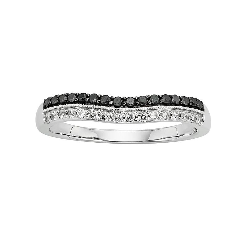 14k White Gold 1/3-ct. T.W. IGL Certified Black and White Diamond Wedding Ring