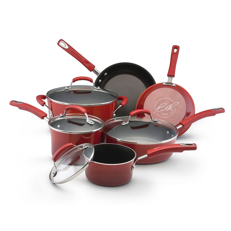Rachael Ray Two-Tone Red 10-pc. Cookware Set
