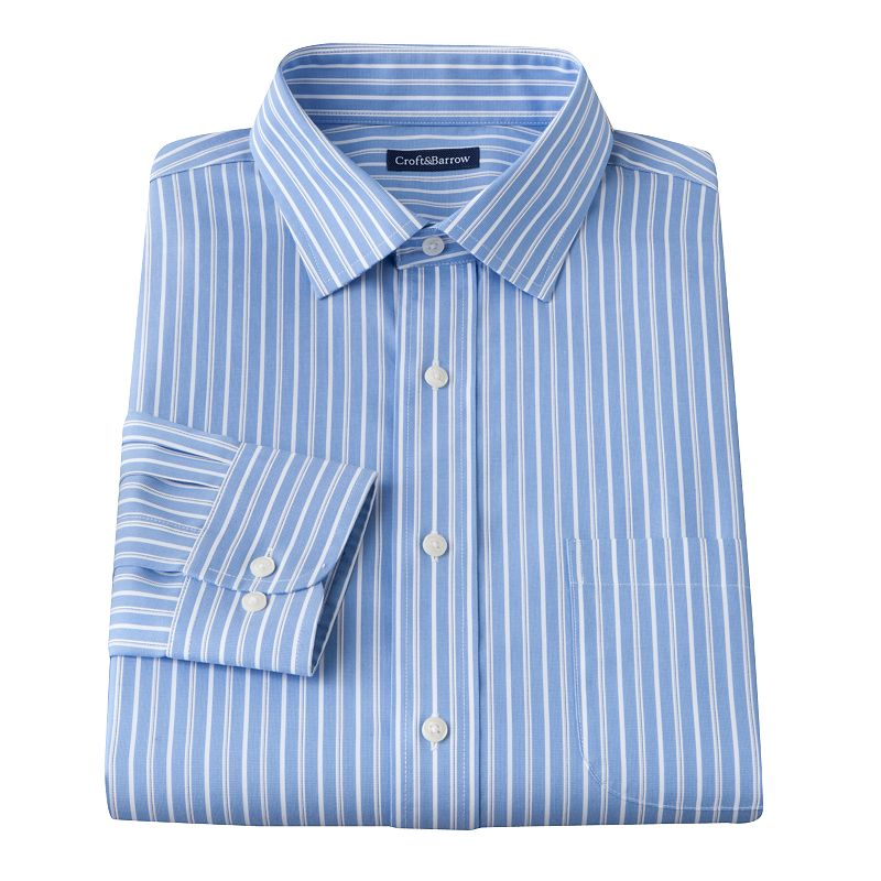 Men 39 s croft barrow classic fit striped no iron spread for Size 15 dress shirt