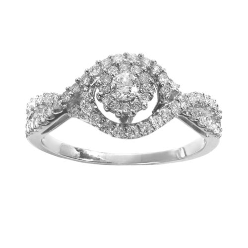 Simply Vera Vera Wang Round Cut Diamond Twist Halo Engagement Ring in 14k White Gold (3/8 ct. T.W.)