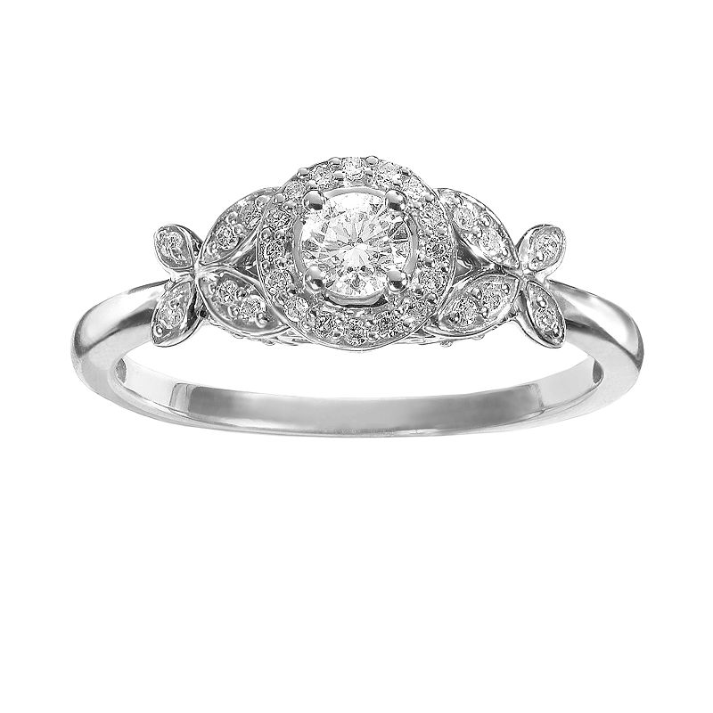 Simply Vera Vera Wang Diamond Flower Halo Engagement Ring in 14k White Gold (1/3 ct. T.W.)