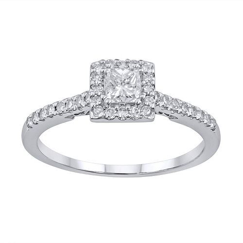 Simply Vera Vera Wang Diamond Halo Engagement Ring In 14k